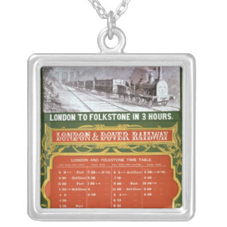 Early timetable for the London to Dover Railway Silver Plated Necklace