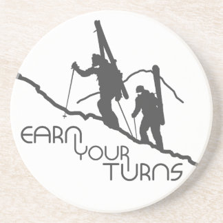 Earn Your Turns Beverage Coasters