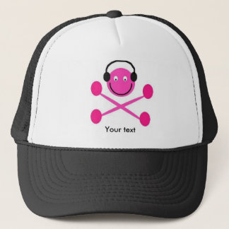 earphones smile trucker hat
