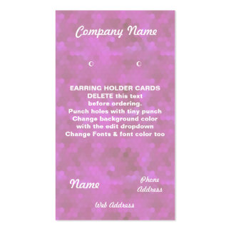 EARRING HOLDER Cards Custom business cards Pink