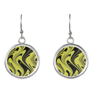 Earrings Yellow Tiger Circle Drop