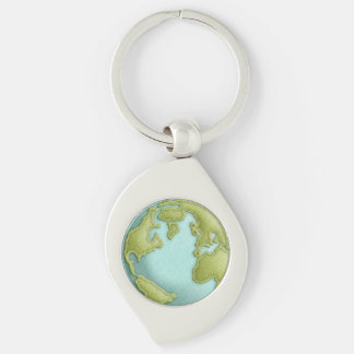 Earth 3D Stitched Pattern Keychain Silver-Colored Swirl Key Ring