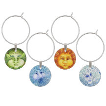 Earth, Air, Fire, Water-The Four Elements Wine Set Wine Glass Charm
