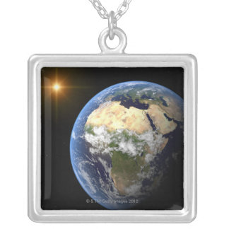 Earth and a Bright Star 2 Silver Plated Necklace