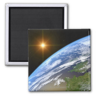 Earth and a Bright Star 3 Square Magnet
