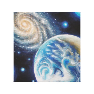 Earth and a galaxy stretched canvas print