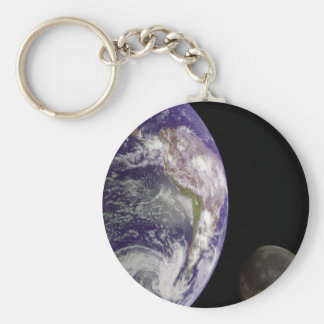 Earth and moon basic round button key ring