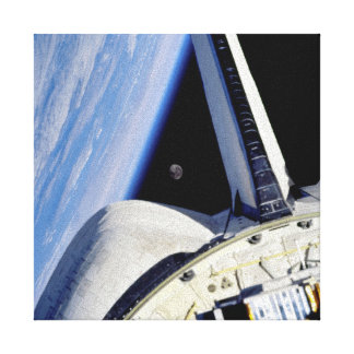 Earth and Moon from Space Shuttle Discovery Canvas Print
