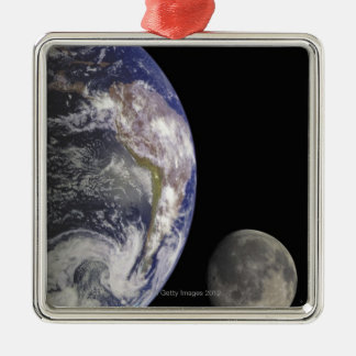 Earth and Moon Silver-Colored Square Decoration