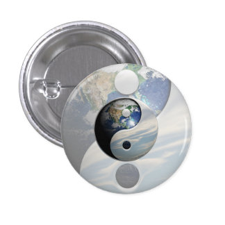 Earth and Sky Yin Yang 3 Cm Round Badge