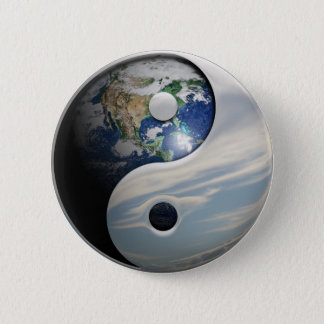 Earth and Sky Yin Yang 6 Cm Round Badge