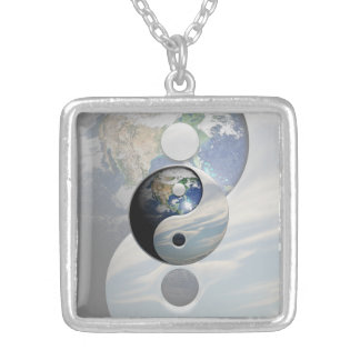 Earth and Sky Yin Yang Silver Plated Necklace