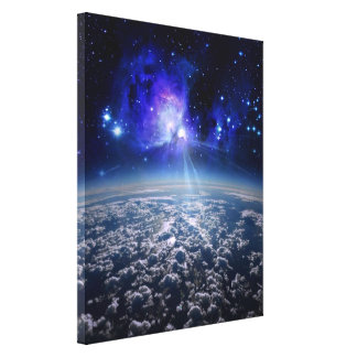 earth and universe, beautiful world by healinglove stretched canvas print