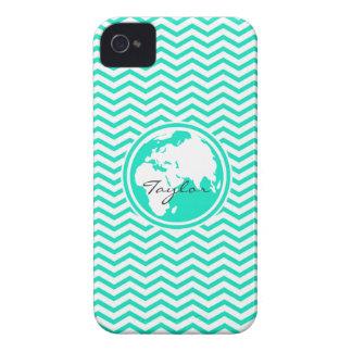 Earth Aqua Green Chevron iPhone 4 Case-Mate Case