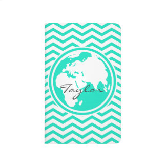 Earth; Aqua Green Chevron Journal