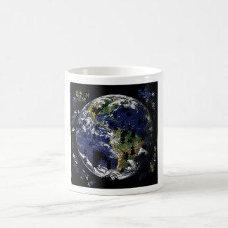 Earth As A Puzzle Basic White Mug