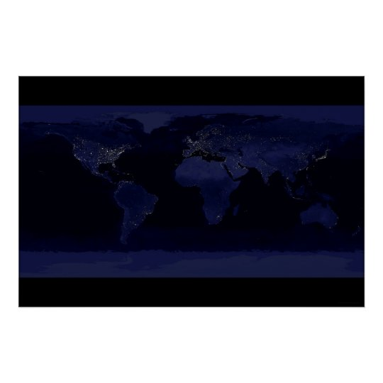 Earth at Night 78x52 (55x37) Poster