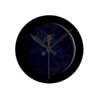 Earth at Night Black Marble Wallclocks