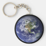 Earth Basic Round Button Key Ring