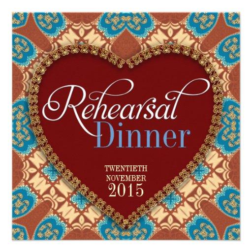 Earth Bohemian Heart Rehearsal Dinner Invitations