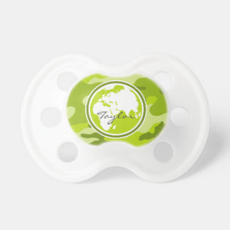Earth bright green camo camouflage pacifiers