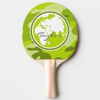 Earth; bright green camo, camouflage ping pong paddle