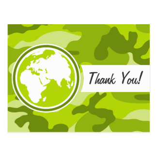 Earth; bright green camo, camouflage post card