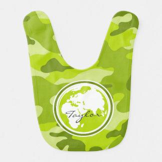Earth bright green camo camouflage baby bibs