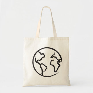 Earth brush-stroke illustrated tote bag