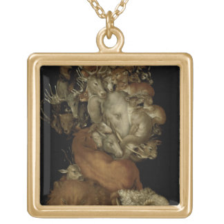Earth, c.1570 (oil on panel) gold plated necklace