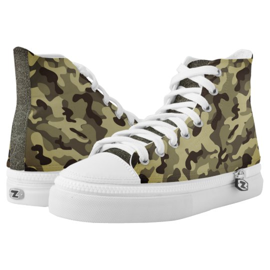 Earth Camouflage  High Top Shoes