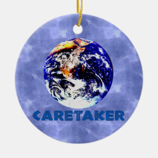 Earth Caretaker Double-Sided Ceramic Round Christmas Ornament