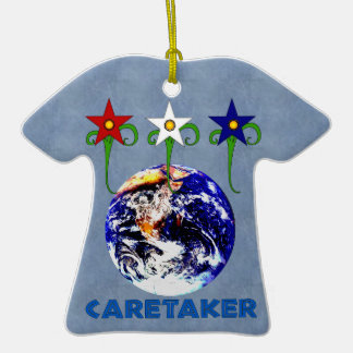 Earth Caretaker Double-Sided T-Shirt Ceramic Christmas Ornament