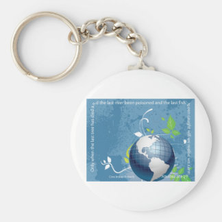 Earth ~ Cree Indian Proverb Basic Round Button Key Ring