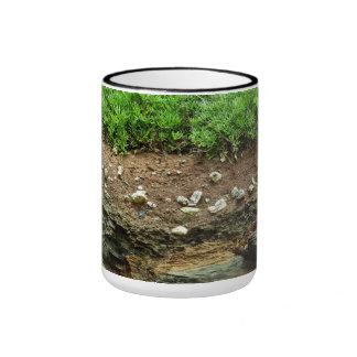 Earth cross section down to rock ringer mug
