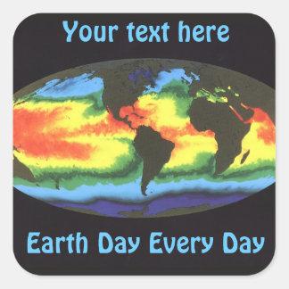 Earth Day 2012 - Global sea surface temperature Square Sticker