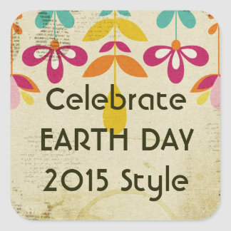 Earth Day 2015 Floral Abstract Stickers (Square)