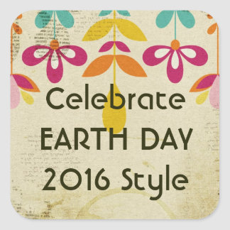 Earth Day 2016 Floral Abstract Stickers (Square)