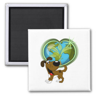 Earth Day and Boots Square Magnet