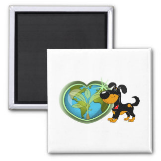Earth Day and Bubba Square Magnet