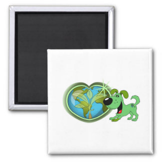 Earth Day and Leaf Square Magnet