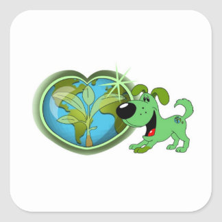 Earth Day and Leaf Square Sticker