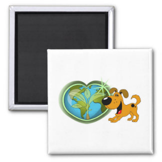 Earth Day and Pumpkin Square Magnet