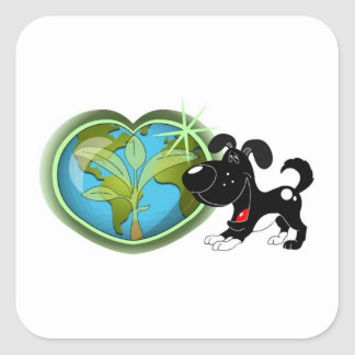 Earth Day and Shadow Square Sticker
