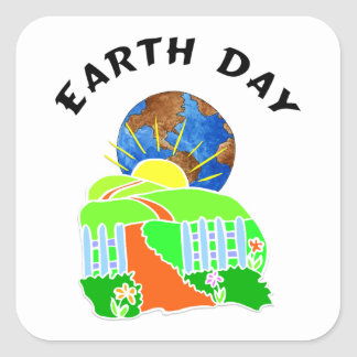 Earth Day at Home Square Sticker
