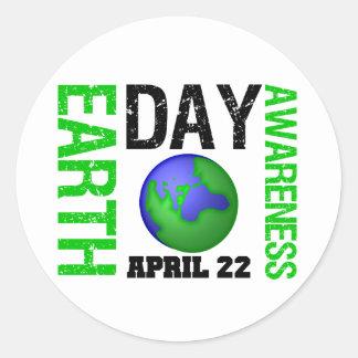 Earth Day Awareness Round Sticker