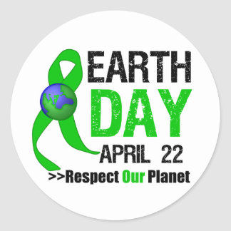Earth Day Awareness Round Stickers