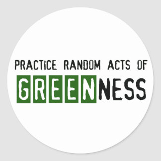 Earth Day - Be Green Round Stickers
