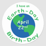 Earth Day Birthday Classic Round Sticker