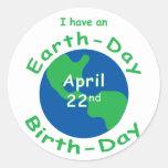 Earth Day Birthday Round Sticker